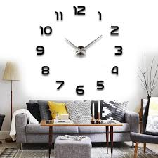 modern arabic numbers 3d frameless large wall clock style watches hours diy room home decorations living room wall clocks for long wall clock from