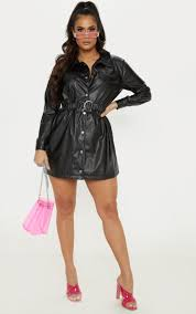 black faux leather belted shirt dress image 1