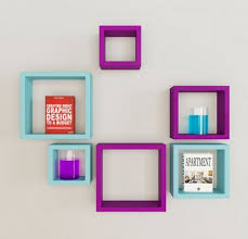 Purple Floating Shelves Custom Blue And Purple Square Shape Wall Shelf Deewar Par Lagi Almaariyan