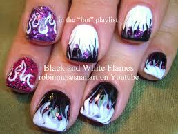 Nail Art Designs - Black and White FLAMES w/ Bling Nail art!
