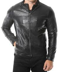 café racer mens casual plain black leather jacket usa