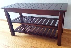 vintage industrial wire mesh and wooden shoe rack bench small wood plans dark cherry solid inch brand new condition bedrooms scenic s c