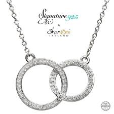 double circle silver pendant encrusted