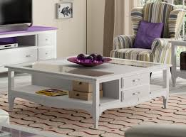 fontana solid wood furniture collection coffee table with glass top and drawers