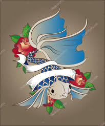 Tetování Ryba S Modrými Váhy A Velký Ocas V Růžích Stock Vektor