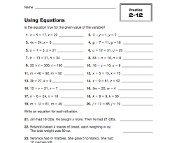 worksheets using equations