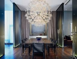 mid century modern dining room chandelier dining room contemporary with neutral colors dark floor cove lighting