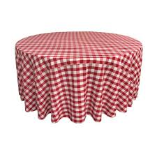 white and red polyester gingham checd round tablecloth