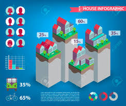 Vector House Infographics City Town Living Human Icons Stats