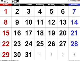 Month Of March Calendar 2020 March 2020 Calendars For Word Excel Pdf