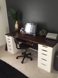 ikea office drawers. Office Desk With IKEA ALEX Drawer Units As Base. Except Use A Makeup Vanity Instead. Ikea Drawers E