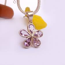 purple amethyst flower pendant
