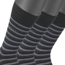 Men Socks Pair Of 3 In Black Grey Striped From Jockey Up To Size 46