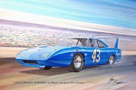 1970 plymouth painting 1970 superbird petty nascar racecar muscle car sketch rendering by john samsen