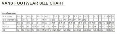 Vans Size Chart Inches Vans Size Chart Cm Sochim Com