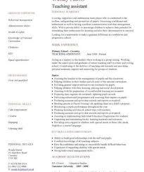 Teacher Assistant Resume Magnificent Teaching Assistant Cv Sample Teacher Cv Example School Children