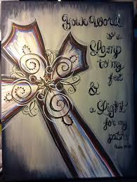 original acrylic canvas cross your word is a lamp scripture painting 12x16