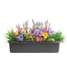 Artificial Window Artificial Pansy Lavender Window Box Blooming Artificial
