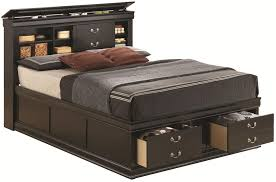 queen platform bed with storage and headboard for size of