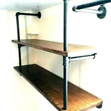 pipe wall shelf iron black shelves ahren 2 industrial