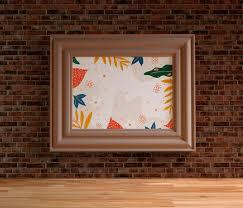 Minimalist Painting Frame Hanging On Brick Wall Psd File