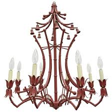 vintage red italian faux bamboo chinese chippendale style tole paa chandelier for