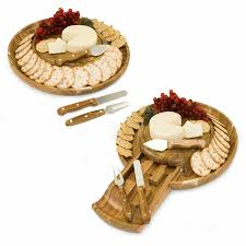 colby round 13 4 wood cutting board serving tray w 3 cheese tools