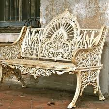 wrought iron garden furniture antique. wrought iron vintage antique garden bench rustic rusted metal white furniture