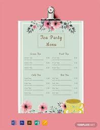 Free Tea Party Menu Template Word Psd Indesign Apple