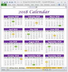 excel 2018 yearly calendar 2018 calendar year in excel spreadsheet printable digital