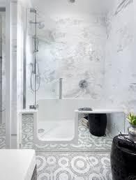 Bathroom White Fiberglass Tub Shower With Grab Bar With Bathtub Bath Shower Combo Faucet