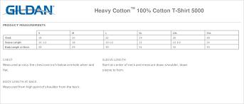 Gildan 5000 Size Chart Gildan Heavy Cotton 100 Cotton T Shirt 5000