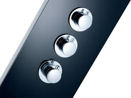 Luxury Black Glass Shower Panel Rain Massage System Thermostatic