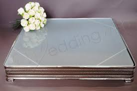 wedding square frosted glass 20 inch cake stand hire wedding wish image 1