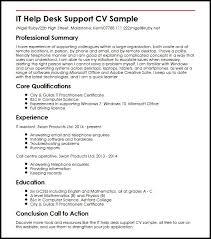 Resume Helper Free It Help Desk Support Cv Sample Myperfectcv