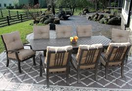 barbados cushion outdoor patio 9pc dining set for 8 person with 44x86 rectangle series 4000 table antique bronze finish