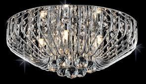 carlo 5 light crystal basket flush fitting in polished chrome
