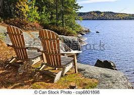 adirondack chairs lake. Exellent Chairs Adirondack Chairs At Lake Shore  Csp6801898 Intended Chairs Lake