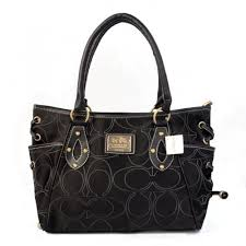 Coach String Logo Signature Medium Black Totes BTR