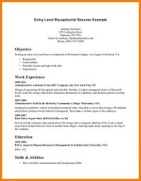 Entry Level Receptionist Resume Examples Of Resumes Example