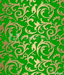 Seamless Damask Baroque Golden Pattern On Green Background
