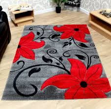 Red Rugs For Kitchen Grey Black And Red Modern Tulip Pattern Flower Rug Sold With A