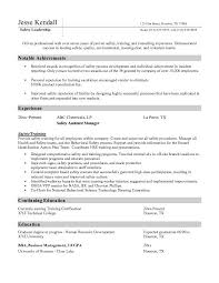 Effective Safety Assistant Manager Resume Template With Notable Achievements