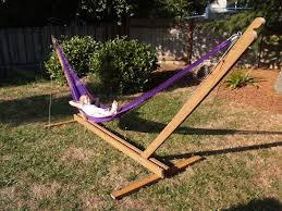 Furniture:Purple Rope Hanging Hammock Using Wooden Expandable Stand Outdoor  Decorations: Hammock Ideas That
