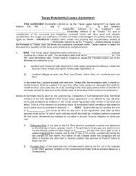 Residential Lease Contract Download Free Texas Residential Lease Agreement Printable