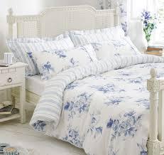 blue white bedding bed linen fl stripe reversible duvet cover or curtains
