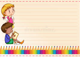 border design with children and colorpencils stock vector ilration of book childhood