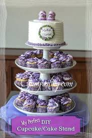 diy cake stand purple white frosted cupcakes displayed on cupcake cake stand diy tiered wedding cake stand