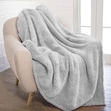 Amazon.com: PAVILIA Plush Sherpa Throw Blanket for Couch Sofa | Fluffy Microfiber Fleece Throw | Soft, Fuzzy, Cozy, Shaggy, Lightweight | Solid Light Gray Blanket | 50 x 60 Inches: Home & Kitchen