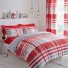 details about charlotte thomas camden check duvet cover set red polycotton 144 thread count